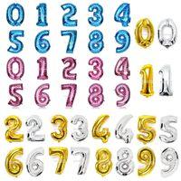 10pcs / set Foil Balloon 16 인치 / 40 인치 숫자 골드 실버 핑크 블루 컬러 0-9 생일 기념일 파티 웨딩 장식
