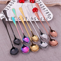 Stainless Steel Spoon With Long Handle Color Metal Spoons Co...