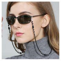 Moda Feminina Cadeias De Óculos Contas de Acrílico Preto Contas Anti-slip Eyewear Cord Titular Pescoço Cinta Óculos de Leitura Corda