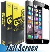 Protector de pantalla Pantalla de seda completa Vidrio templado para iPhone 11 Pro Max XR XR XS MAX 7 6 8 PLUS J3 J7 Prime 2017 Mate P30 LG Stylo 4 5 6