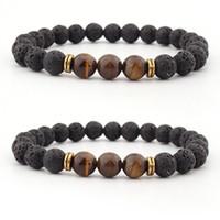 Kimter Natural Tiger Eye Stone Bracelets Bangle Yoga Beads Essential Oil Diffuser Bracelet for Women Men Handmade Jewelry Free DHL H539F