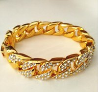 15MM Width Gold Plated Iced Out Miami Cuban Hip Hop Bracelet...