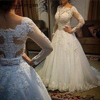 Vestido De Noiva 2019 Abito da sposa vintage in pizzo Plus Size con maniche  lunghe Off 8fdc1598b87