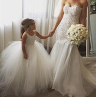 Cheap Spaghetti Straps LaceTulle Flower Girl Dresses For Wed...