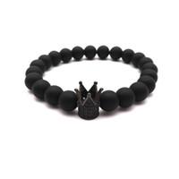Micro Pave Black CZ Zirconia King Crown Charm Bracelet Men Tiger Eye Stone Matte Stone Bead Bracelet