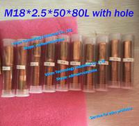 (10pcs / много) М18 * 2,5 * 50 * 80 мм Метрика Медь Орбитального Выявляющий электрод с отверстием для промывки ЭОЙ искры машины EDM меди резьбы электрод M18