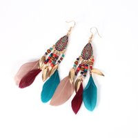 Long Feather Earrings Women Large Bohemian style feather ear...
