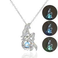 Käfig Leuchtende Halskette Liebe Wunsch Natürliche Perle Glow in der dunklen Meerjungfrau Anhänger Hohl Medailat Halsketten Drop Ship
