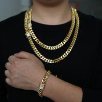 2018 الذهب شغل الصخور الهيب هوب الرجال الصبي مجوهرات واسعة كوبان رابط سلسلة مايكرو تمهيد تشيكوسلوفاكيا المشبك جودة عالية بارد ميامي سوار قلادة مجموعة
