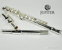 Jupiter JFL-511es 16 hål Stängt C Key Flöjt Cupronickel Silvering Concert Flute Case Rengöring Cloth Stick Gloves Padded Bag