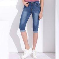 Moda Plus Size Skinny Capris Jeans Mulher Feminina Estiramento Na Altura Do Joelho Do Vintage Denim Shorts Jeans Calças Mulheres com Cintura Alta Verão