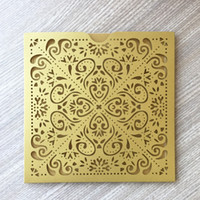 20pcs X Laser Cut Pocket Design Gold Pearl paper Wedding Bir...