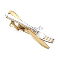 Yoursfs Ruler Tie Clip Mens Novelty Silver Skinny Stainless Steel Tie Clips Pins Gift (Knife and fork tie clip)