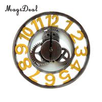 장식 빈티지 나무 기어 벽 시계 대형 라운드 벽시계 홈 장식