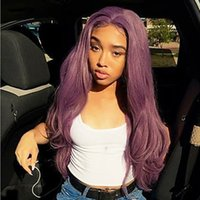 26inch Middle Part Purple Color Long Wavy Wig Synthetic Lace...