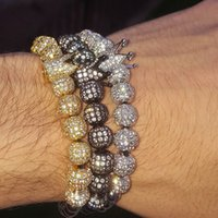Männer Slivery Crown Zirkon Armband Armband Armbänder Schmuck Bibleklik 4mm Perlen Runde Geflochtener Charme Frau Pulseira DIY Vupji