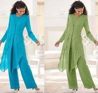 2020 Hot Sale Chiffon elegante com mangas compridas Jewel Neck Ruffles Mãe da noiva Pant Ternos mãe com BA4453 Jacket