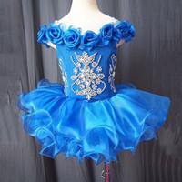 Mavi Organze Üstü Diz Mini Balo Pageant Çiçek Kız Elbise Kapalı Omuz Cupcake Kızın Pageant Elbiseler Bebek Yürüyor Elbise