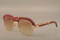 Óculos de sol crossbrow de madeira natural Premium. Moda high-end lente de gravação de madeira templo óculos de sol 1116728 Tamanho: 60-18-135mm