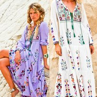 2018 Free shipping women' s embroidery flower maxi long ...