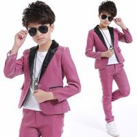Студенческая одежда 2021 Детские джазовые танец костюмы мальчиков бальные танцы розовый костюм хип-хоп наряд спектакля детская одежда DNV10050