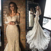 Amazing Mermaid Lace Wedding Dresses With Long Sleeves Off T...