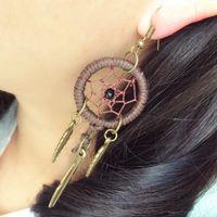 Envío gratis Vintage pendiente personalizado Indian Dream Catcher pendientes vintage estilo pendiente de plumas whosale