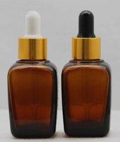 호박색 사각형 유리 병 30ml 1 oz dropper bottle with gold cap 흰색 / 검은 색 고무줄 vaj ejuice 에센셜 오일