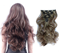 ZhiFan clip hair extension wavy synthetic 18inch clip hair c...