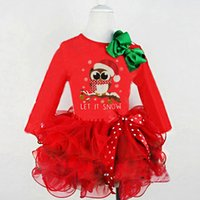 Christmas Baby Girls Tutu Dresses Long Sleeve Lace Cotton An...