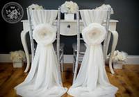 Hochwertige Chiffon Pin neue Ankunft 3D Floral Stuhlhussen Vintage Stuhl Schärpen 2018 Hochzeit Lieferungen