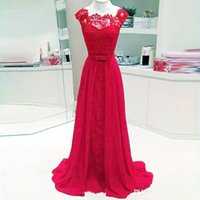 449c824dbbd6bb Wholesale purple short sleeve maxi dress online - Hot Selling Red Long  Evening Dresses Lace Chiffon
