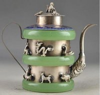 الصين رائع اليشم قديم اليدوى المدرعة زودياك طارد الأرواح الشريرة تحصيل وعاء الشاي