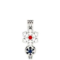 Argento Smalto Buon Natale Fiocco di neve Stella Ostriche Beads Cage Locket Pendant Aromatherapy Profumo Oli Essenziali Diffusore
