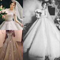 Lindo Cristal Rhinestone Vestido De Noiva Lantejoulas Beads Fora Do Ombro de Manga Curta Vestido De Noiva Saudita Atraente Tulle Vestido De Baile Casamento Dres