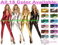 Sexy Front Zipper Body Suit Kostüme Sexy 15 Farbe Shiny Lycra Metallic Anzug Catsuit Kostüme Unisex Fancy Dress Party Cosplay Kostüme P319