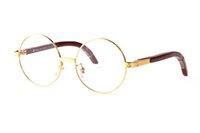 lunettes Moda de madeira Earstems óculos redondos Frames Homens Mulheres Reading Glasses Frames Óculos Branco chifre de búfalo Óculos nenhum grau de femme