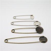 100pcs Larger spille di sicurezza con il vassoio fai da te Spilla Base d'argento / bronzo di colore