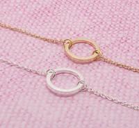 Pequeña geometría hueco anillo redondo encanto pulsera collar compacto círculo amistad regalo contorno marco amor eterno afortunado mujer madre familia familia regalos joyería