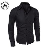Wholesale-Men's Dress Shirt  2016 Tops Mens Slim Fit Blouse Long Sleeve Fashion Dress Men Shirts Trim Shirts Cardigans R1574
