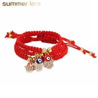Nouvelle arrivée Hanmade Fatima Main Evil Blue Eye Pendentifs String Rouge Tissé Bracelet de cordes pour Femmes Bracelet de perles plaquées aurifères chanceux