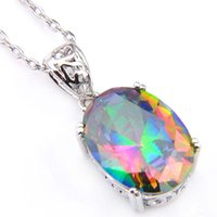 Luckyshine 6Pcs/Lot handmade Natural Oval Rainbow Mystical Topaz Gems Pendants Romantic Valentine's Gift Silver Pendant Necklaces For Lover