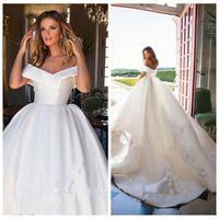 2021 새로운 디자인 웨딩 드레스 볼 가운 새틴 레이스 아플리케 오프 숄더 빅 정원 Vestidos 드 Mariee 등이없는 신부 가운 밀라 노바