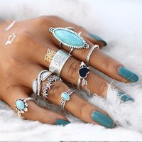 8pcs set Vintage Bohemian Lady Rings Set Silver Turquoise Kn...