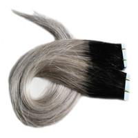 1B серебристо-серый Ombre кожи уток ленты расширения 100G прямые седые волосы 40piece PU ленты в человека наращивание волос