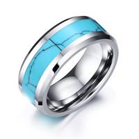 Bijoux de mode 8mm Hommes Turquoise Inlay Tungstène Bagues de mariage à haute pluie Bagues de mariage à haute pluie, ajustement de confort taille 7-12