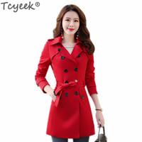 Tcyeek Abrigos de moda de primavera y otoño para mujer 2018 Nuevo Trench Coat largo Estilo coreano para damas EleSlim Fit Windbreaker LWL566