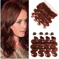 Reddish Brown Brazylijskie ludzkie włosy splotowe wiązki z pełną frontal ciało fala # 33 ciemne kaszturowe splot z 13x4 koronki frontal