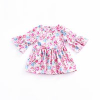 Lovely Girls Floral Print Dress Summer Country Style Long Sl...