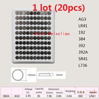 20 stks 1 Lot AG3 LR41 192 384 392 392A SR41 L736 1.55V Alkaline Button Cell Batterij Muntbatterijen Lade Pakket Gratis Verzending